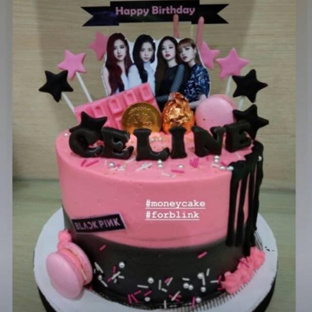 Money Cake Birthday Cake Kue Ulang Tahun Murah Tart Promo Black Pink Custom Cake Shopee Indonesia