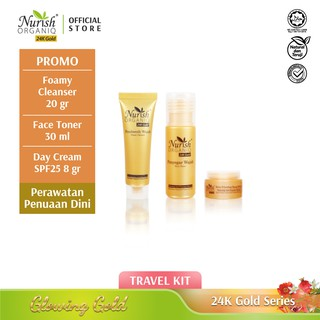 Travel Size of Nurish Organiq 24K Gold series (Foamy Cleanser 20ml + Face Toner 30ml +Day Cream 8ml) thumbnail