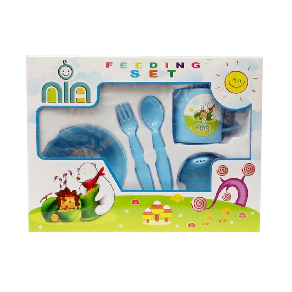 Lusty Bunny Tempat Makan Bayi Feeding Set Lb 1412 Peralatan Bowl And Spoon Biru Muda Shopee Indonesia