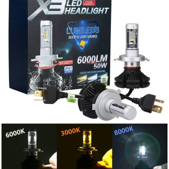 Lampu Led H4 Philips Lumileds X3 3warna Tembus Kabut Dan