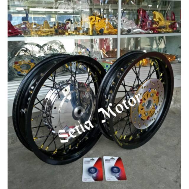 velg jari jari ring 17 tapak lebar ukuran 215 dan 250 1set depan belakang mrek ride it   Shopee Indonesia