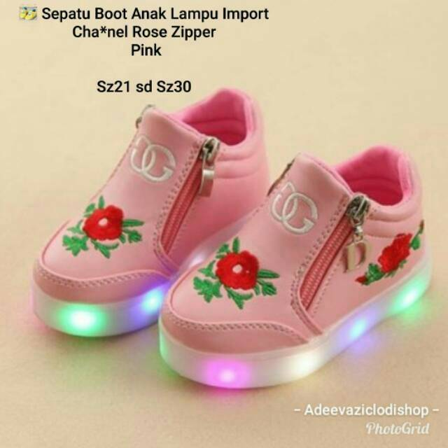 Sepatu boot anak lampu led import rose zipper  0cdaec1331