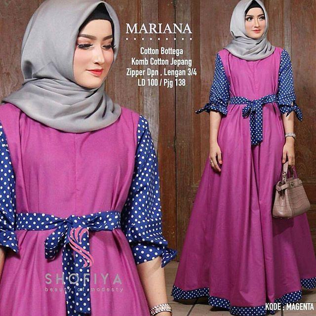 MARIANA POLKA DRESS  MURAH DRESS  LONG DRESS  PANJANG WANITA MUSLIM GAMIS SETELAN  BATIK CASUAL DRESS  502c3fab4b