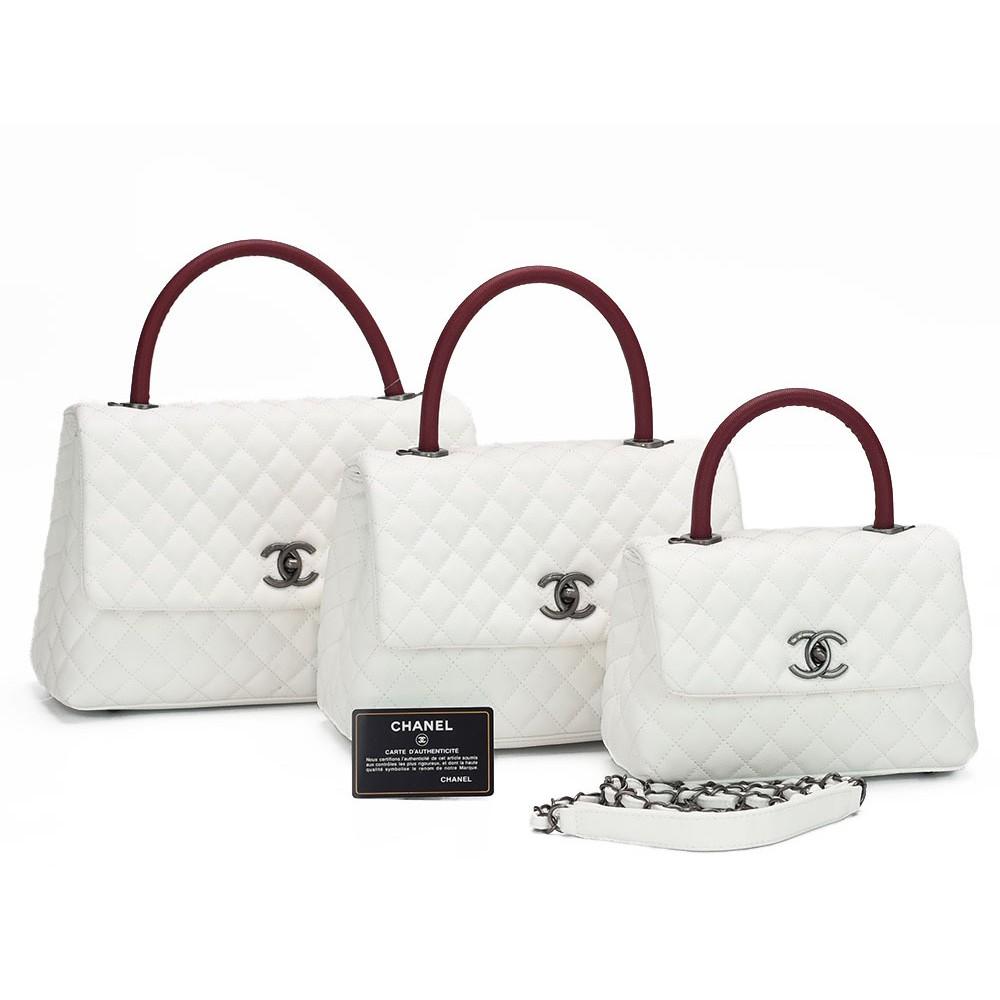 TAS BRANDED IMPORT MURAH - Tas Chanel Coco Top Handle Caviar PUTIH-MARON  Semprem  c1bae57ba3