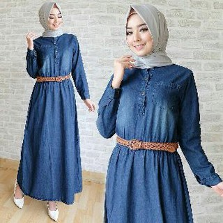 NEW Maxi Jeans Najla Set 2in1 Dress Busui Belt Limited Edition Gamis Cewek  Terbaru dan Ke 75ad17d0c0
