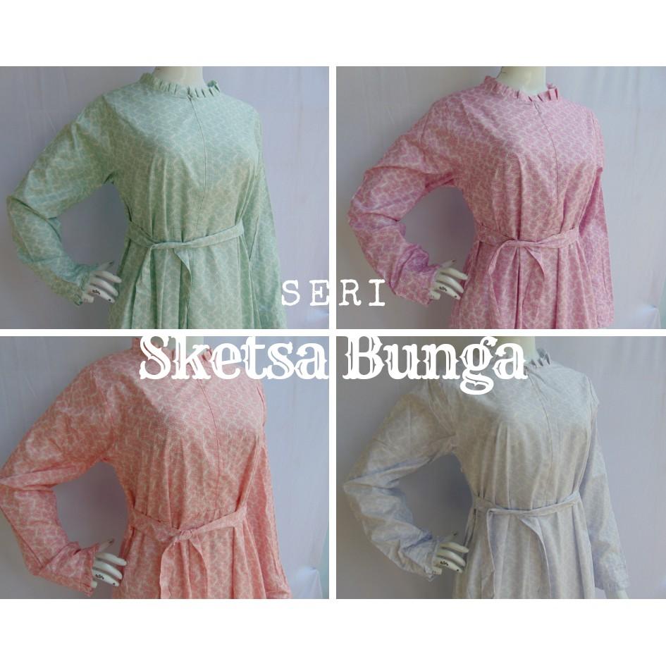Gamis Katun Jepang Original Baju Muslim Kekinian Terbaru Kiky Collection  Motif BUNGA SKETSA