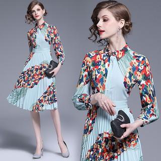 Women Long Sleeve Vintage Floral Pleated Dress Ladies Summer Elegant Casual A Line Midi Dresses Shopee Indonesia