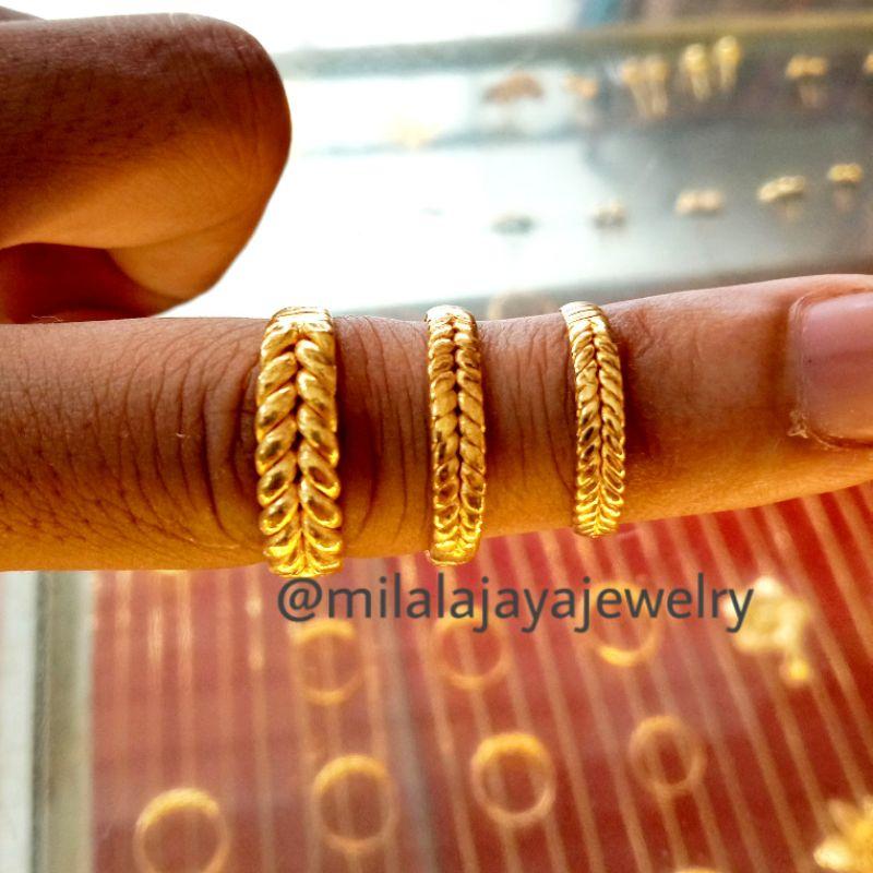 LM 24k 999 Cincin rotan emas asli kadar 999 99% 24k malige balige baris dua