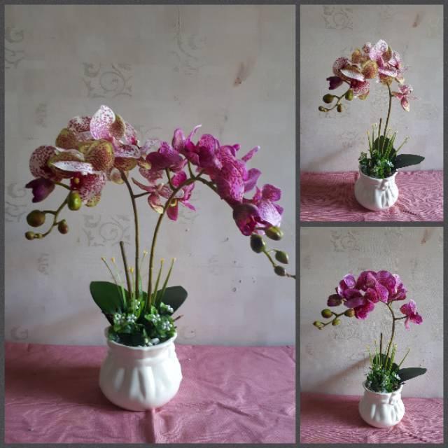 Bunga anggrek latex 3tangkai vas keramik  f8959c9ccb