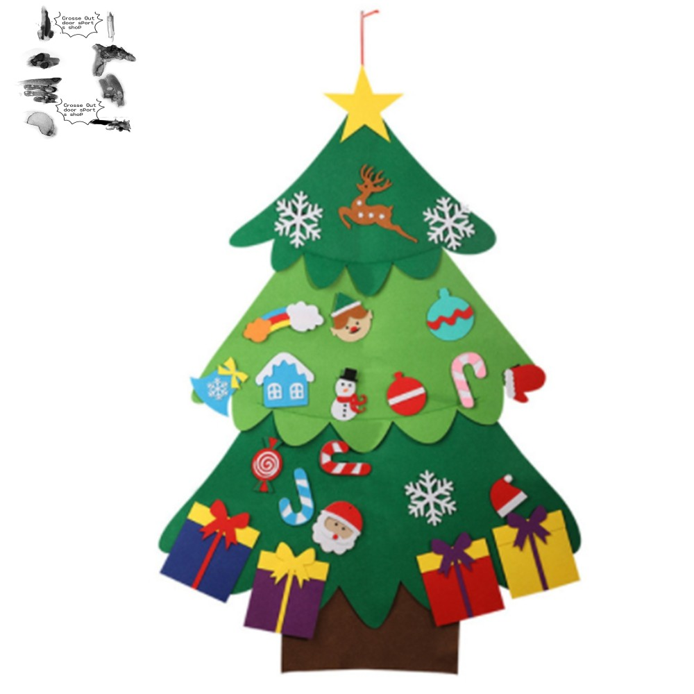Creative Felt Christmas Tree For Kids Diy Christmas Tree With Toddlers Ornaments For Children Xmas Gifts Hanging Home Door Wall Christmas Decorations B Shopee Indonesia