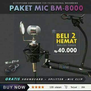 3C # LEIHAO BM-700 Microphone Condenser Profesional untuk