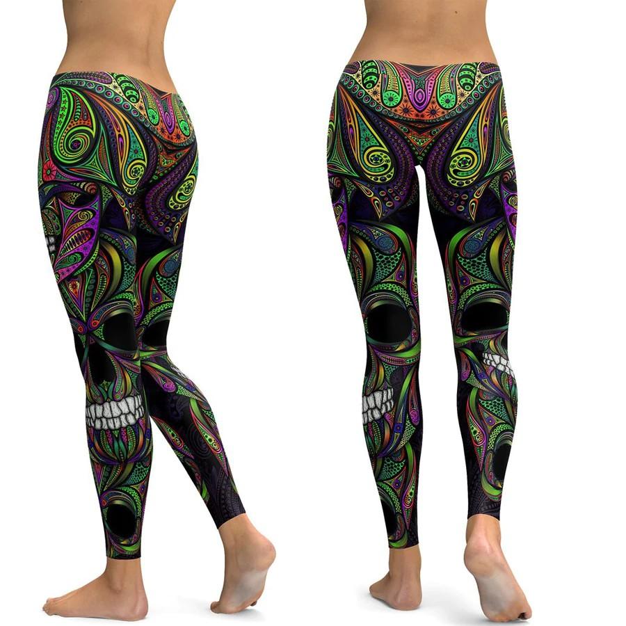 Li Fi Ornamental Skull Leggings Women Yoga Pants Gym Leggings Fitness Sports Wear Elastic Tight Shopee Indonesia