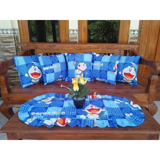 Sarung Bantal Sofa Set Tamu Taplak Meja Murah Banget Motif Karakter Doraemon Blue Doraemon Cube