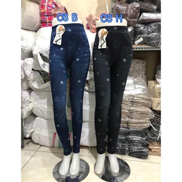 Legging Jeans Denim Import Legging Sobek Motif Celana Wanita Shopee Indonesia