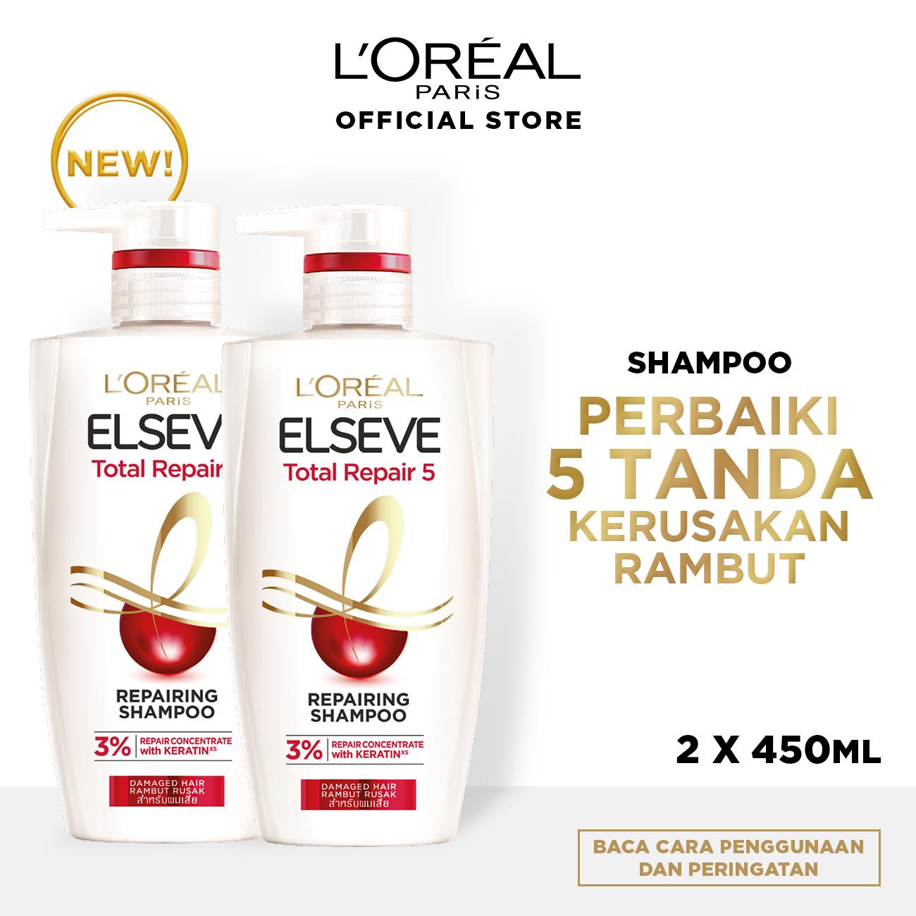 L'Oreal Paris Total Repair 5 Shampoo Hair Care 450 ml - Twinpack [Perawatan Rambut Rusak]
