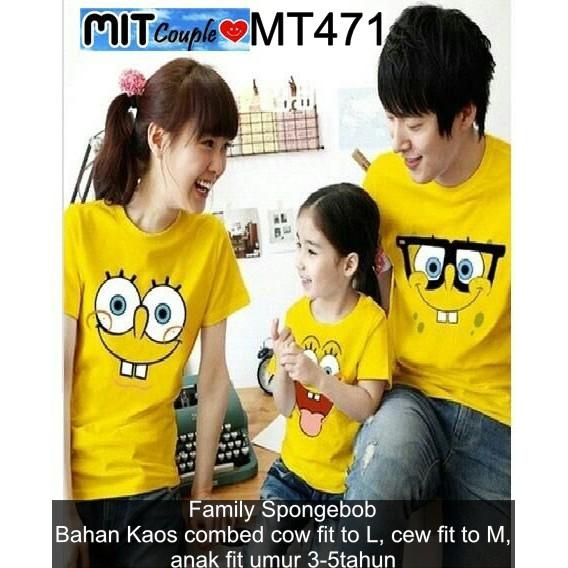 MT471 KAOS COUPLE /KAOS PASANGAN / BAJU COUPLE MURAH Family Spongebob | Shopee Indonesia