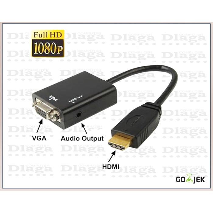 Converter HDMI to VGA with Port Audio - Full HD 1080p (Hitam & Putih)