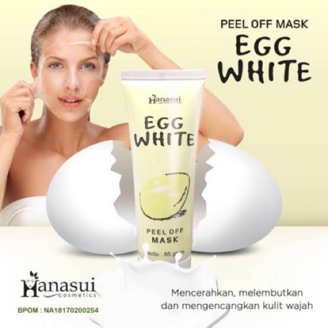 [LULU] HANASUI EGG WHITE PEEL OFF MASK / MASKER TELUR NATURGO BPOM | Shopee Indonesia