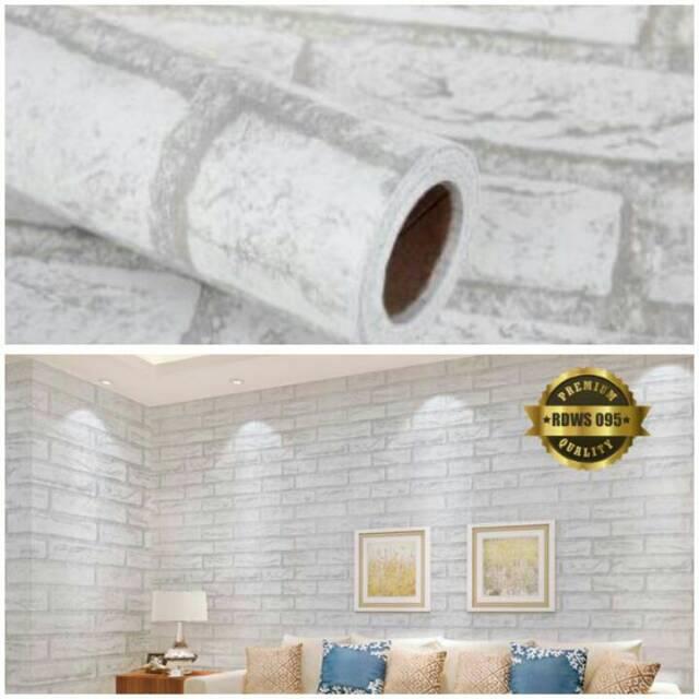 BIG SALE Grosir Wallpaper stiker dinding termurah motif batu bata putih elegan minimalis 10 m x45 cm | Shopee Indonesia