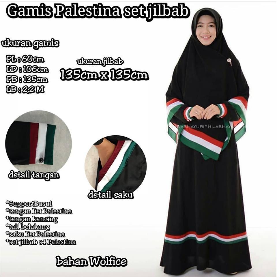 Gamis Palestina Set Segiempat Palestin Palestine Jilbab Hijab Krudung Syari  Busana Muslim  16caac24ee