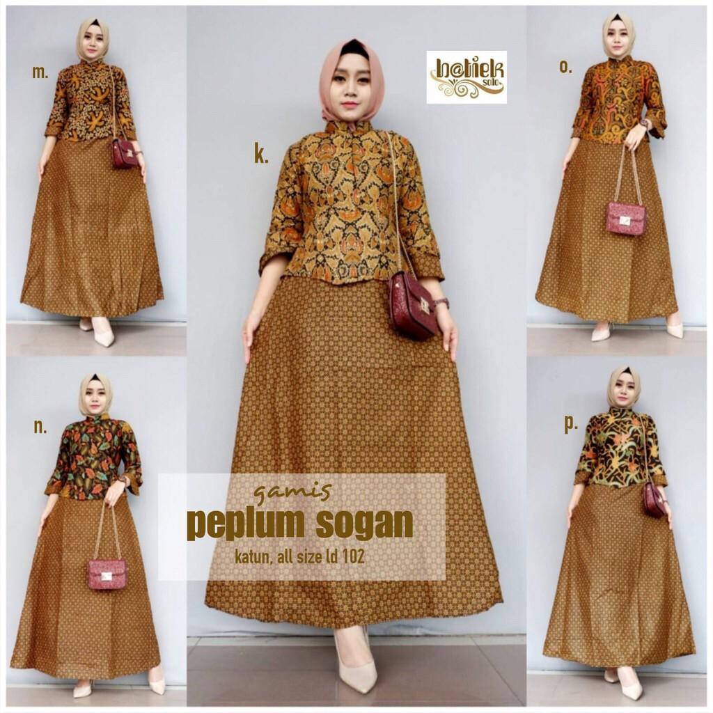 Gamis Peplum Sogan Batik Kombinasi Layer Batik Seragam Pesta Kekinian Baru  Cantik Muslim Long Maxi