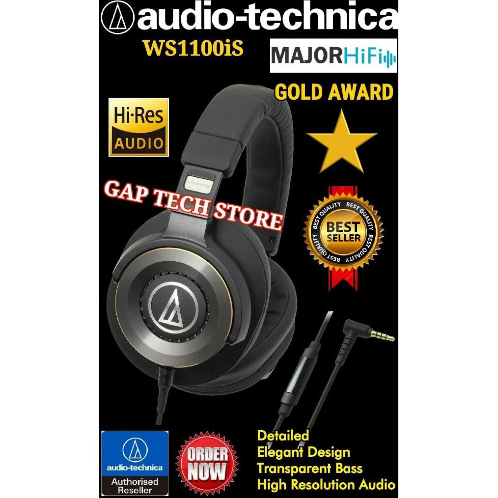 Headphones Audio Technica Solid Bass Ath Ws33x Black Shopee Indonesia Ws990bt Red Hi Res Bluetooth Headphone Hitam