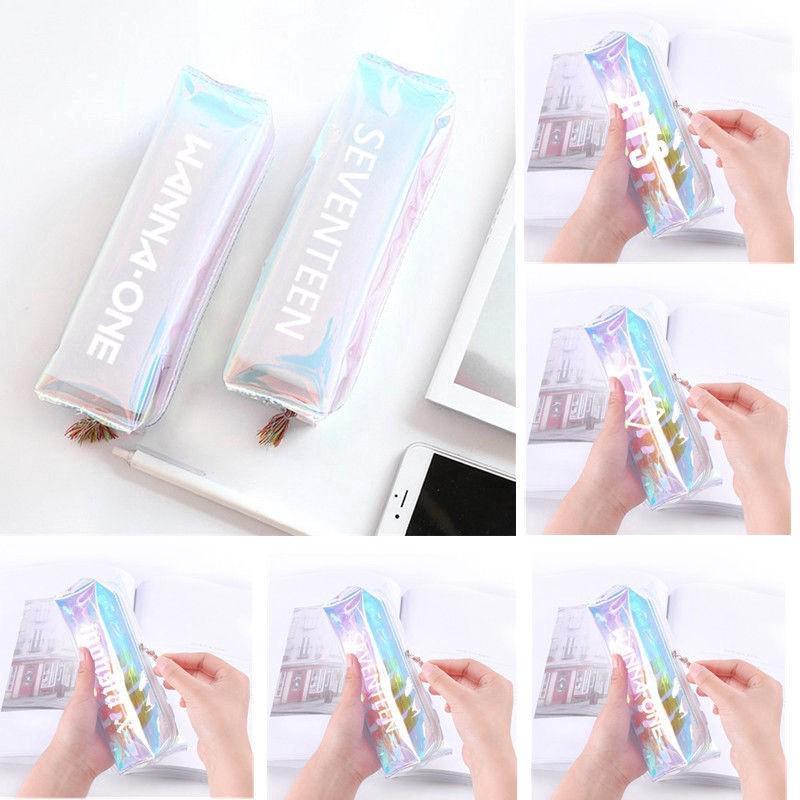 KPOP BTS Pencil Case Monsta X Hologram Holographic Laser Bag EXO GOT7 Makeup