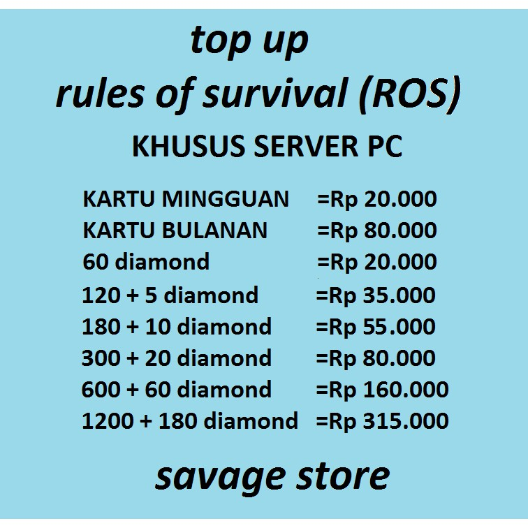 Top Up Diamond Rules Of Survival Ros Server Pc Shopee Indonesia