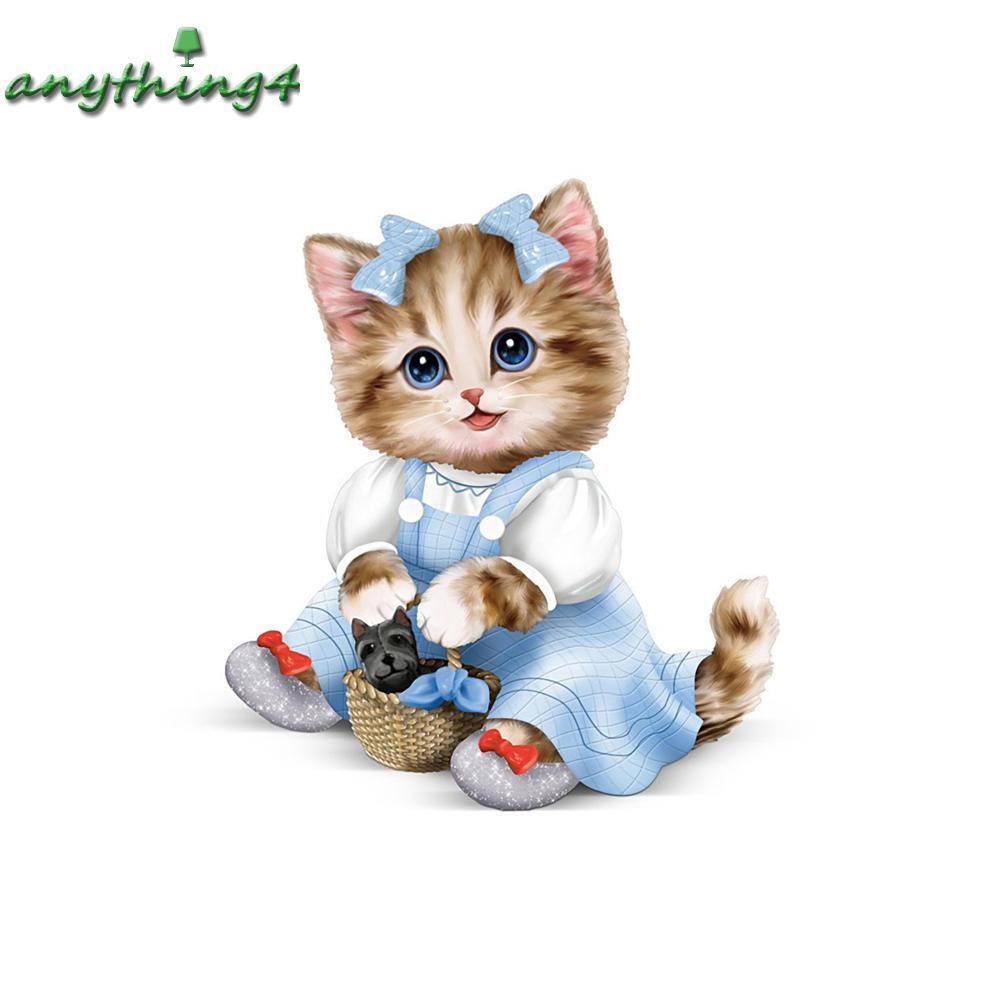 Any Lukisan Diamond 5D DIY Gambar Kartun Kucing Lucu Untuk Dekorasi Rumah