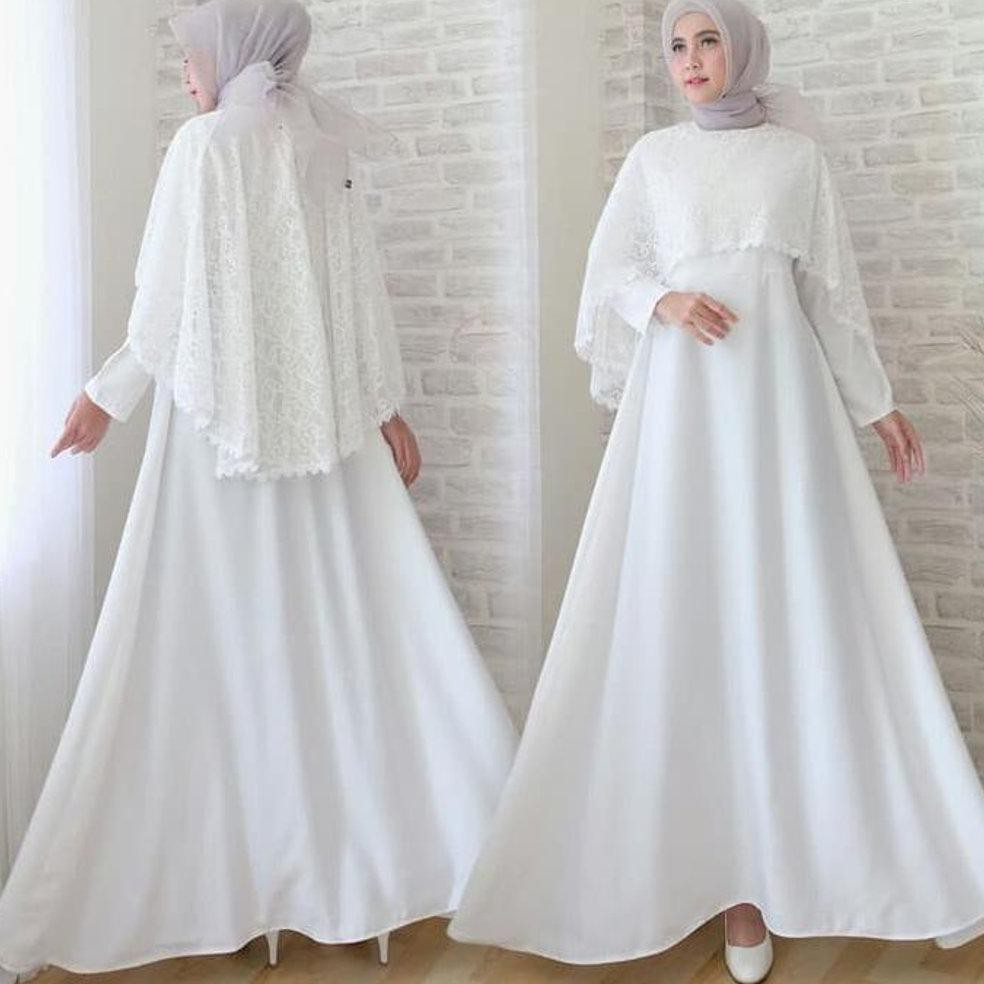 Harga Termurah Baju Gamis Pesta Remaja Wisuda Safrila Brokat Brukat Warna  Putih