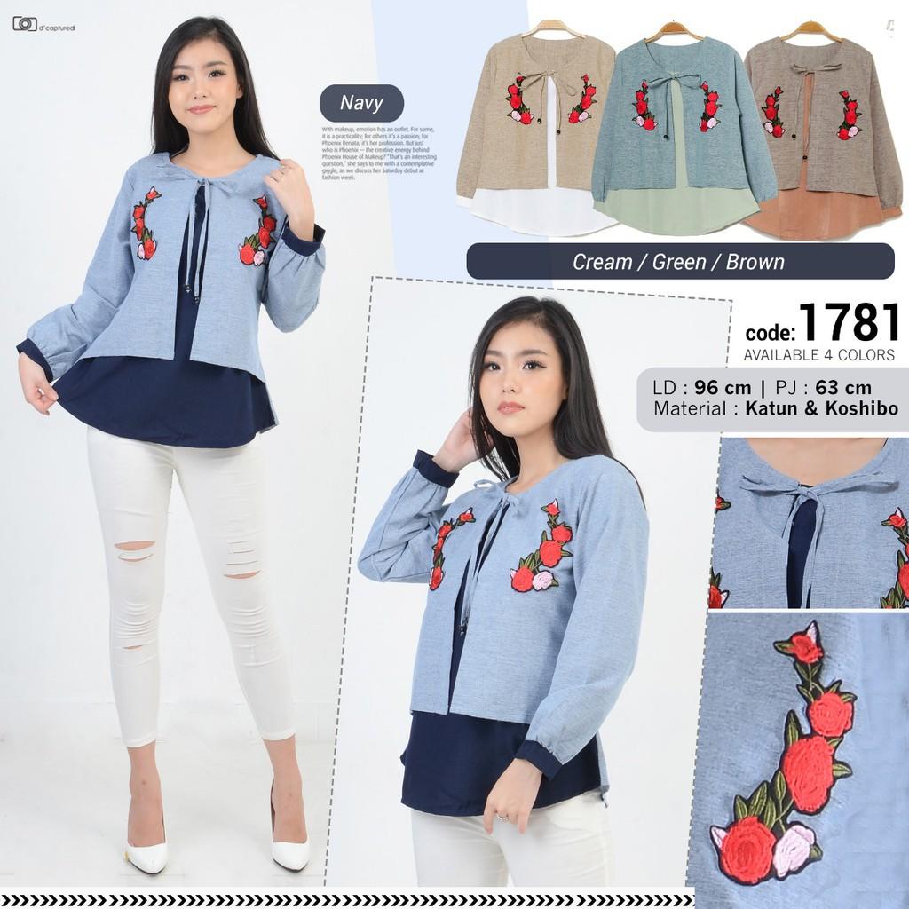 Blouse Kimono Flower Tied Lengan Balon Top Tali Pita Pinggang Busui Sabrina Sleeve Atasan Wanita Bl885 Baju Baloon Bunga Shopee Indonesia
