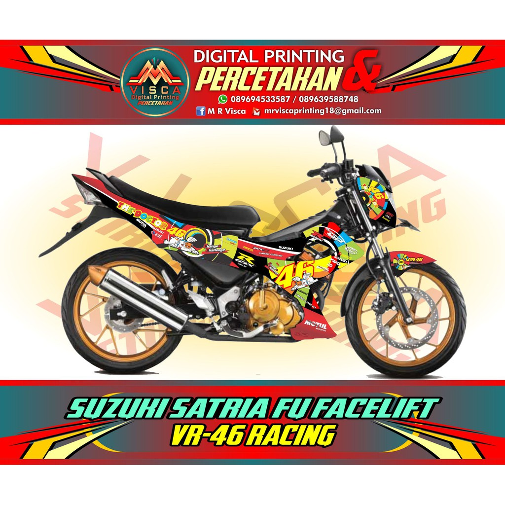 STICKER STRIPING SATRIA FU STICKER MOTOR SATRIA FU DECAL STRIPING SATRIA FU FACELIFT VR 46 RACING