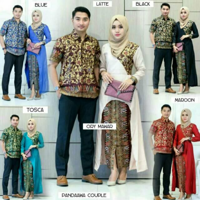 Batik Couple Longcardi Pandawa Setelan Kebaya Modern Tanah Abang Seragaman Pasangan   Shopee Indonesia