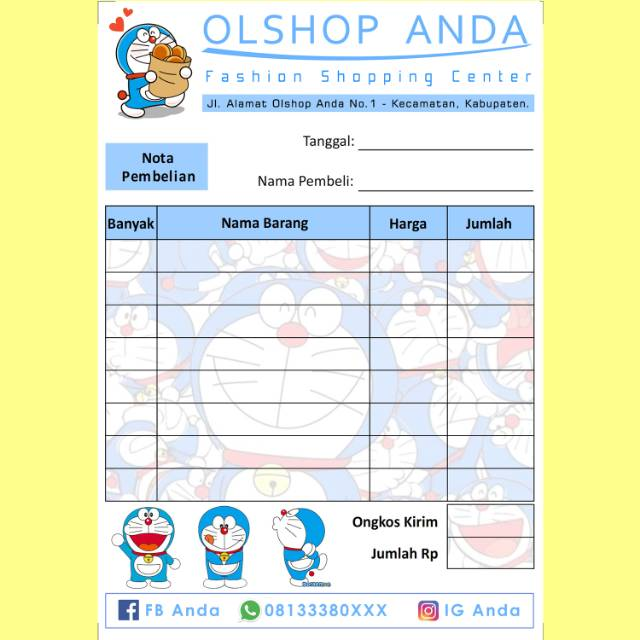Nota Penjualan Pembelian Custom Toko Olshop Online Shop Karakter Kartun Doraemon Lucu Imut Murah