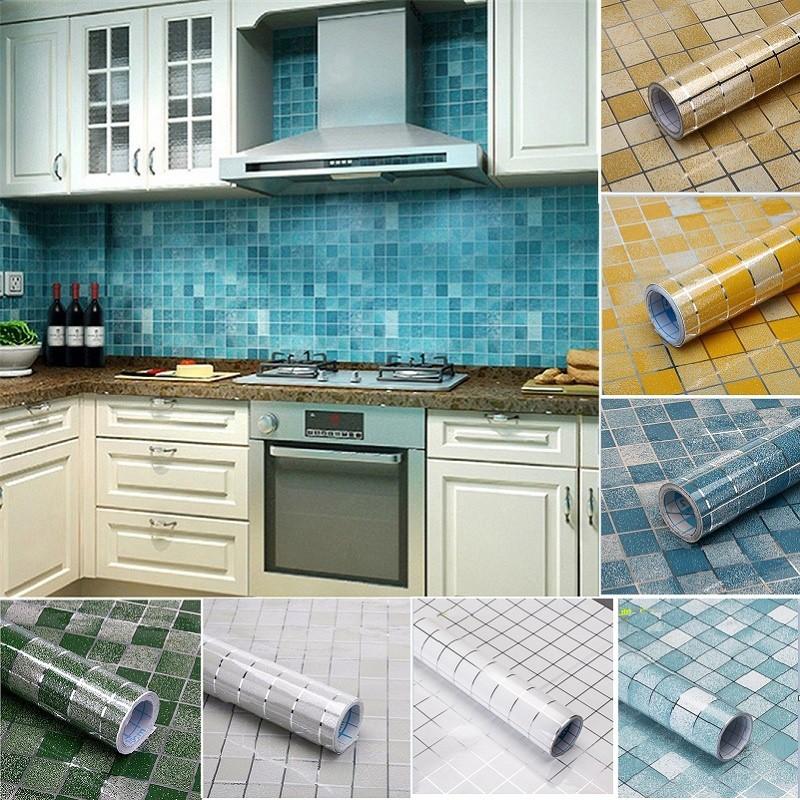 ... Stiker Dinding dengan Bahan Alumunium Foil Anti-Minyak dan Air Gambar Mozaik 3D Ukuran 45x100cm ...