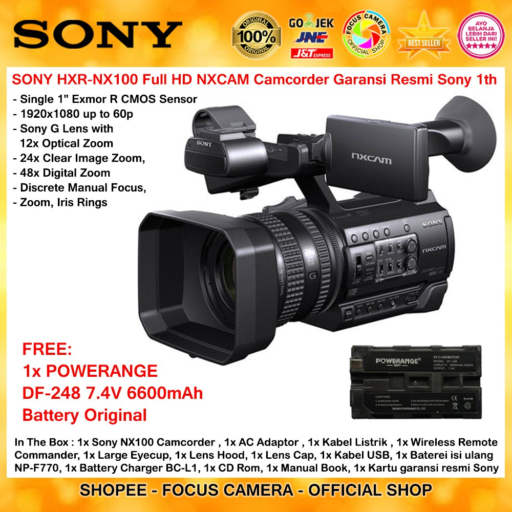 Camcorder Sony Professional Nx 100 Hxr Nx100 Kamera Video Pxw X70 Xdcam Handycam X 70 Original Shopee Indonesia