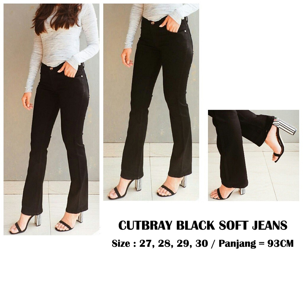 Celana Jeans Highwaist Wanita 5667 Soft Hw High Waist Black Premium Size 27 30 Shopee Indonesia