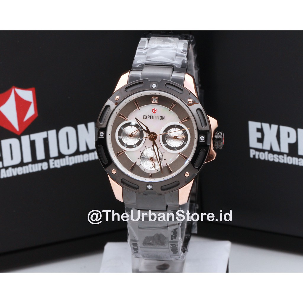 Expedition Jam Tangan Pria E6318m Black Stainless Steel E6657 E6386m Rosegold Dial White Chronograph Source