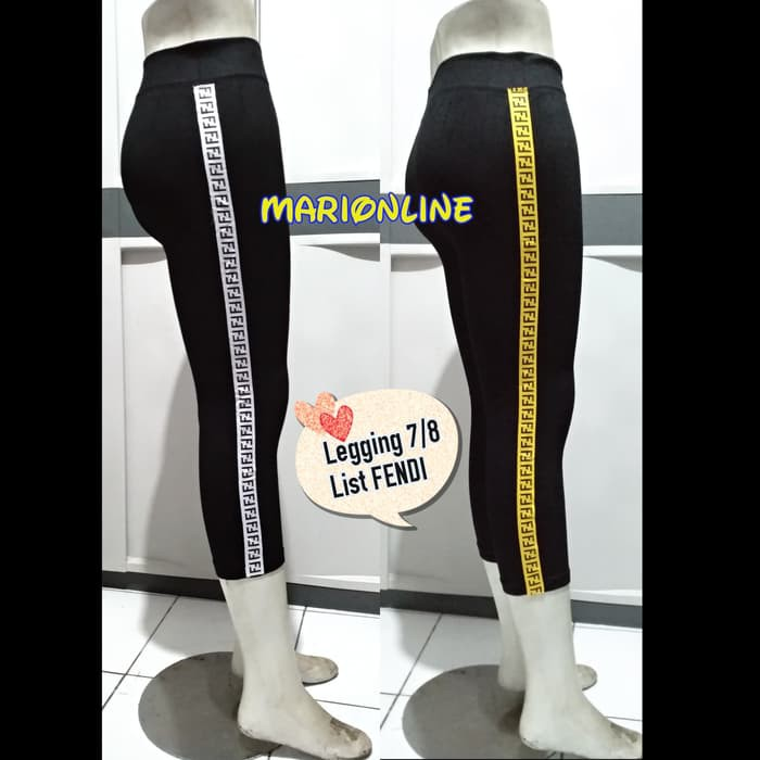 Celana Legging List Fendi Midi Sporty N Trendy Putih Shopee Indonesia