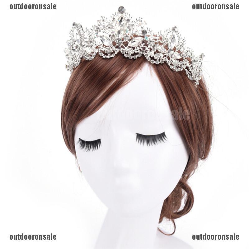 Rhinestone Baroque Bridal Crown Tiara Wedding Bride Hair Headdress Flower King ^