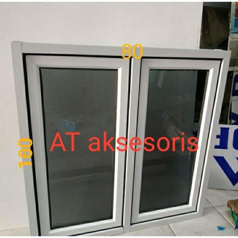 jendela aluminium 80x160 gandeng 2 daun