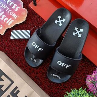 Off White Sandals Hypebeast Sandal Slop Font Off Full Black Free Paper Bag Shopee Indonesia