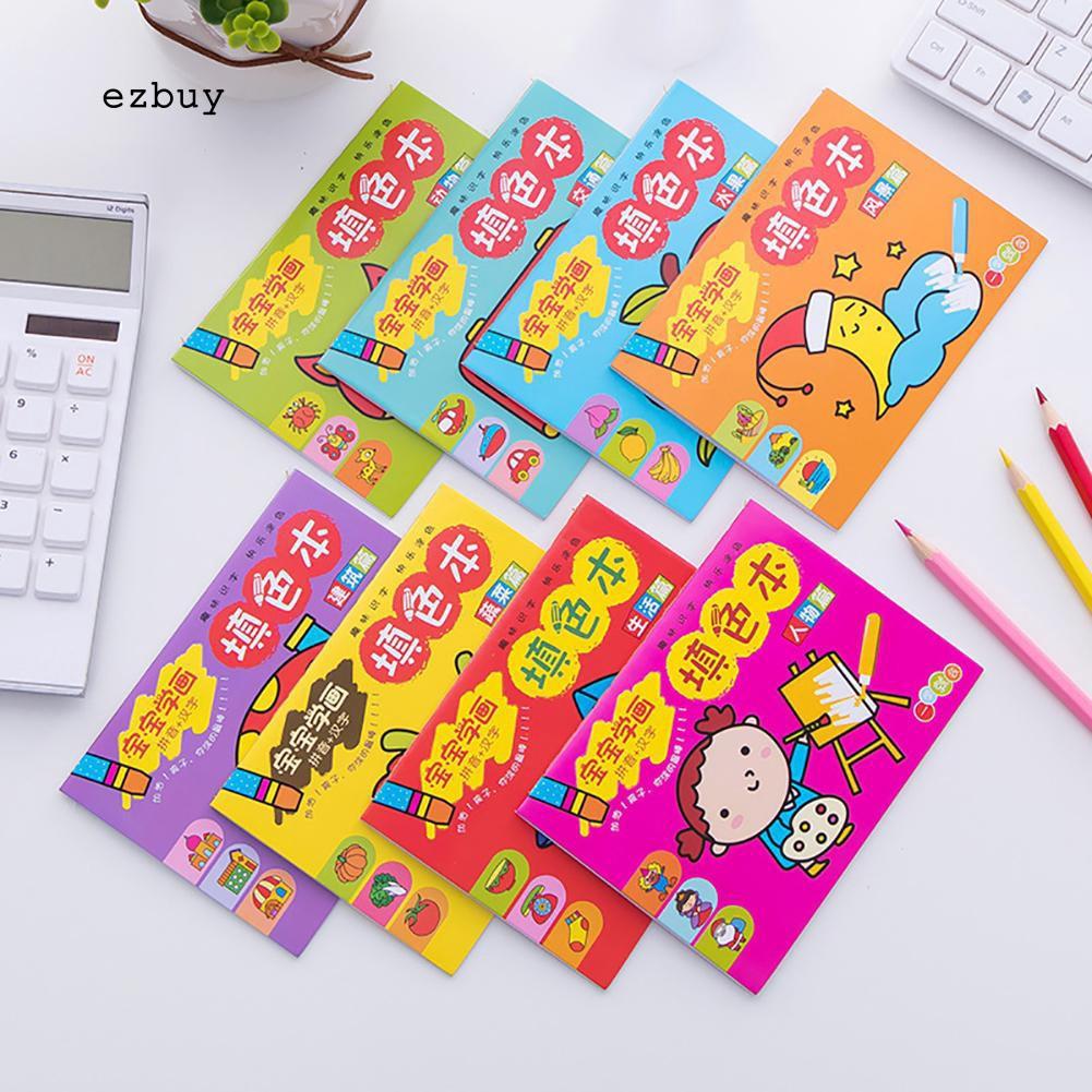 EY 8Pcs Set Buku Mewarnai Anak Gambar Hewan Buah