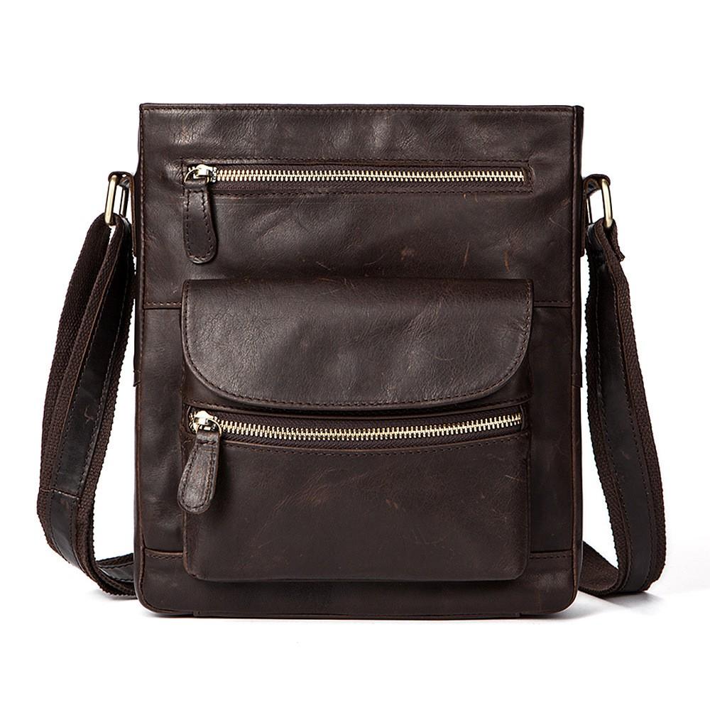 Real Leather Vintage pria kulit asli tas santai tas selempang tas Messenger  kopi  9498d4e79b
