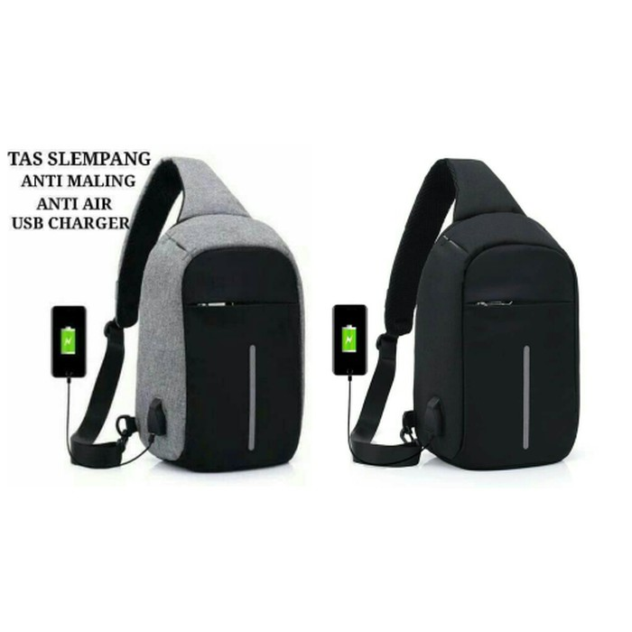 Tas Pria Import Selempang Sling Bag Kulit Oxford USB CHARGER SM09 | Shopee Indonesia