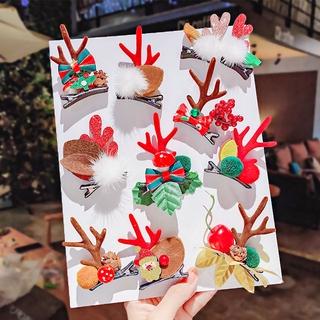 1 Pasang Jepit Rambut Desain Kartun Pita Tanduk Tema Natal ...