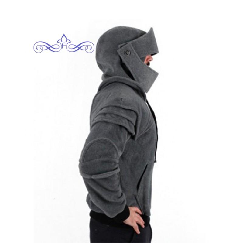 Medieval Vintage Warrior Soldier Knight Sweatshirt Mask Armor Pullover Hoodies