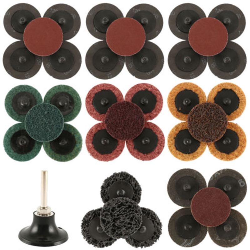 """2/"""" Mini Flap Discs 120 Grit Quick Change Sanding Roloc Style Type R 10 Pack"""