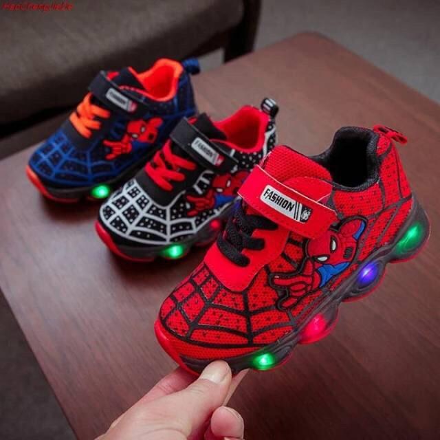 Sepatu Anak Laki Laki Sneaker Spiderman Lampu Led Size 21 33 Usia