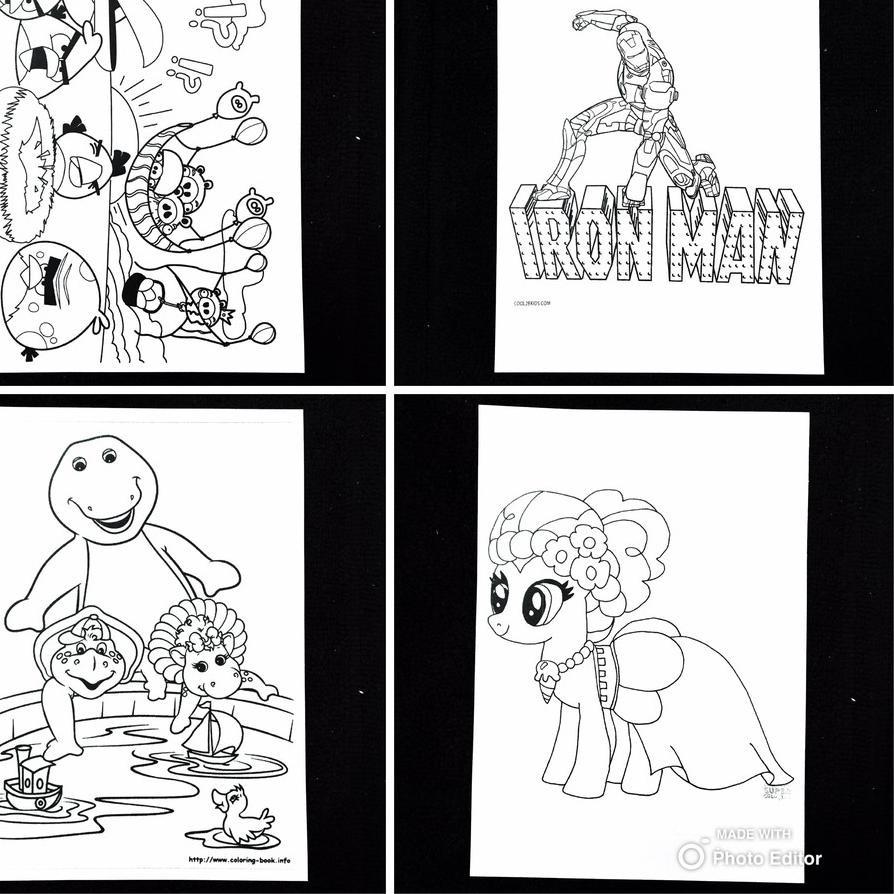 PLA608 [Uk A6 100 Pcs] Kertas Mewarnai Gambar Karakter Kartun Aktivitas Coloring Book Anak TK PAUD